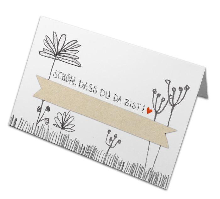 Retro Tischkarten florales Handlettering Design Weiß Beige Grau