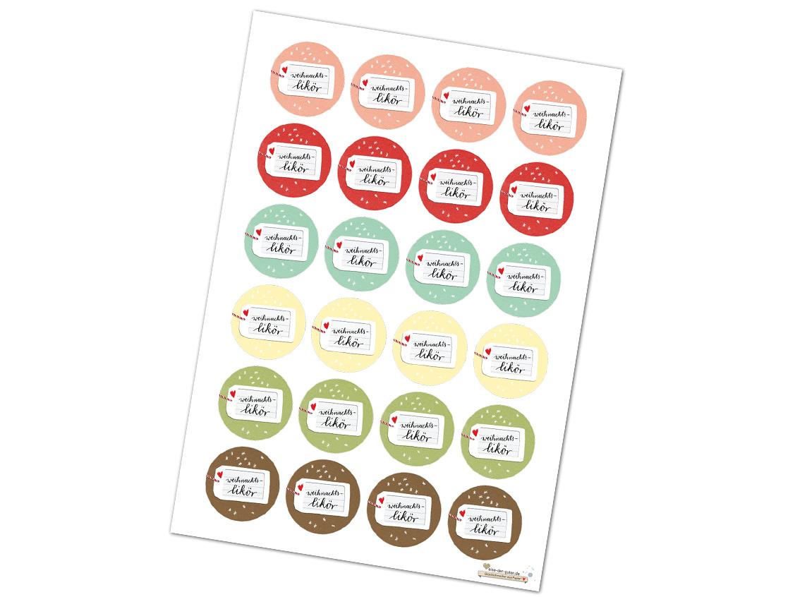 24 farbige Aufkleber für Weihnachts-Likör, 40mm, matt, rund. - EINE ...