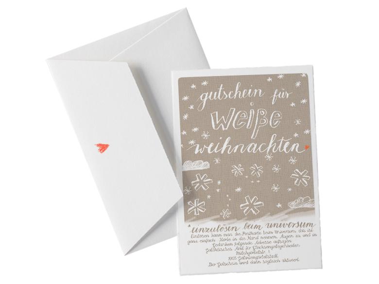 Hochwertige Weihnachtskarten.Witzige Weihnachtskarte Gutschein Für Weiße Weihnachten Gedruckt