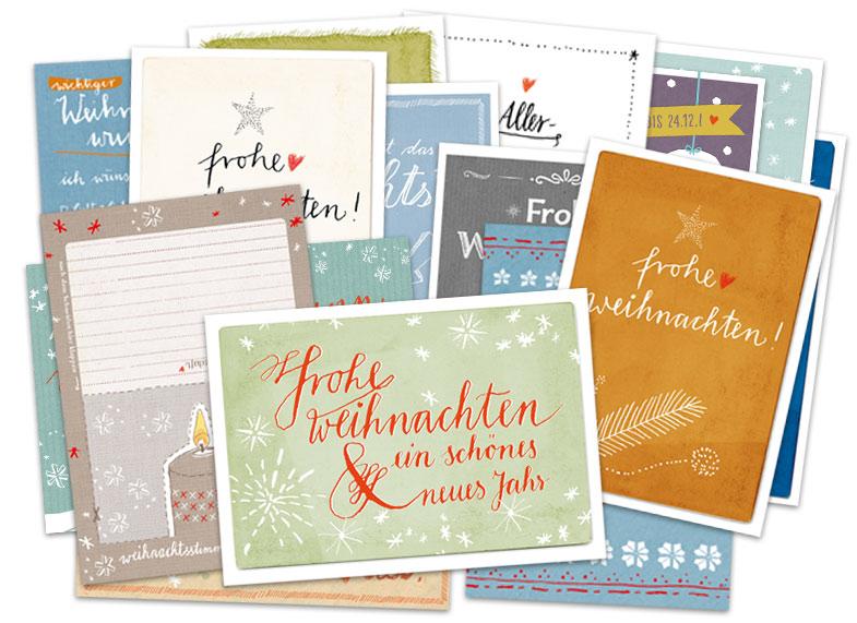 Originelle Weihnachtskarten.Buntes Set Mit 15 Gemischte Originelle Weihnachtskarten