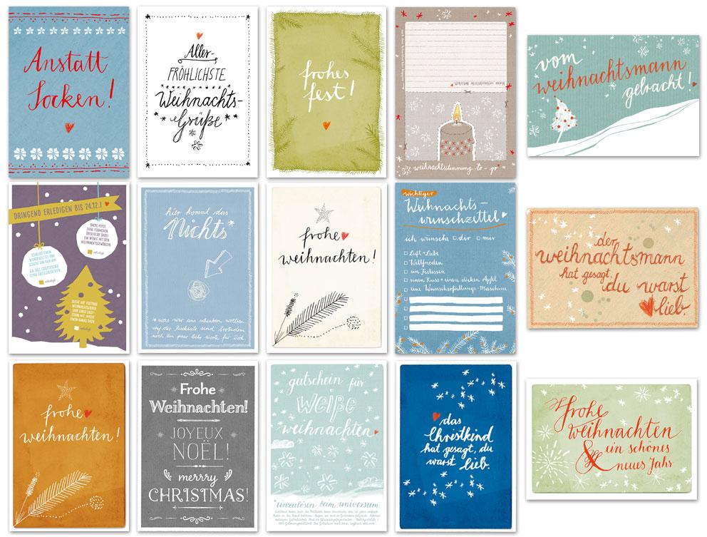 Weihnachtskarten Motive.Buntes Set Mit 15 Gemischte Originelle Weihnachtskarten