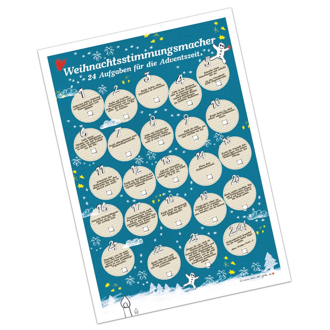 adventskalender weihnachtsstimmungsmacher mit 24 aufgaben f r die adventszeit poster auf. Black Bedroom Furniture Sets. Home Design Ideas