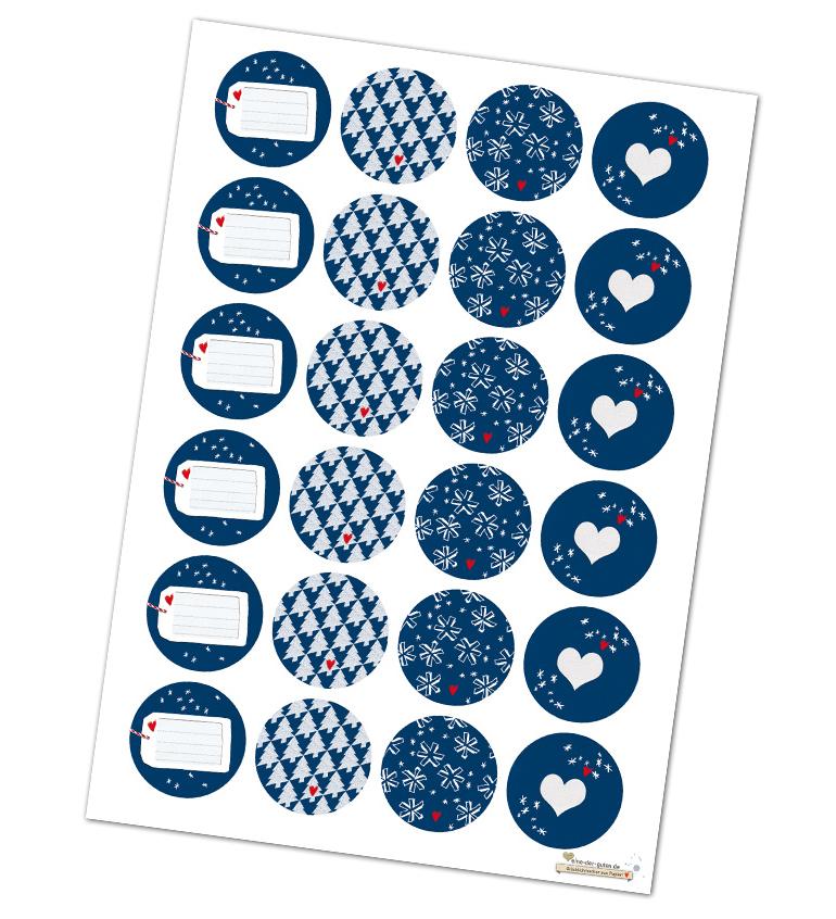 24 gemischte sticker f r weihnachstdeko runde - Weihnachtsdeko blau ...