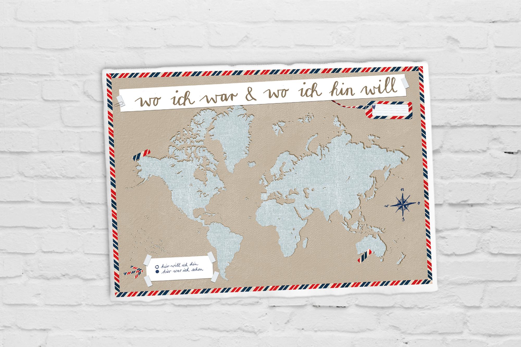 Weltkarte für alle deine Reisen zum selbst ausfüllen auf