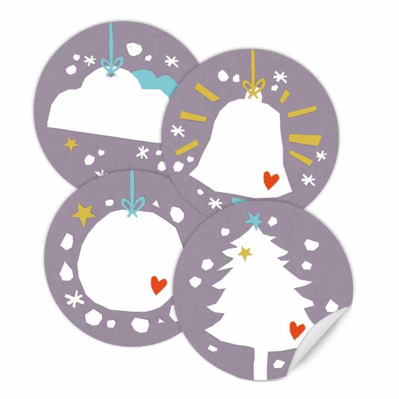 Weihnachtssticker mix vintage collage design 4 motive lila wei eine der guten - Weihnachtsdeko lila ...