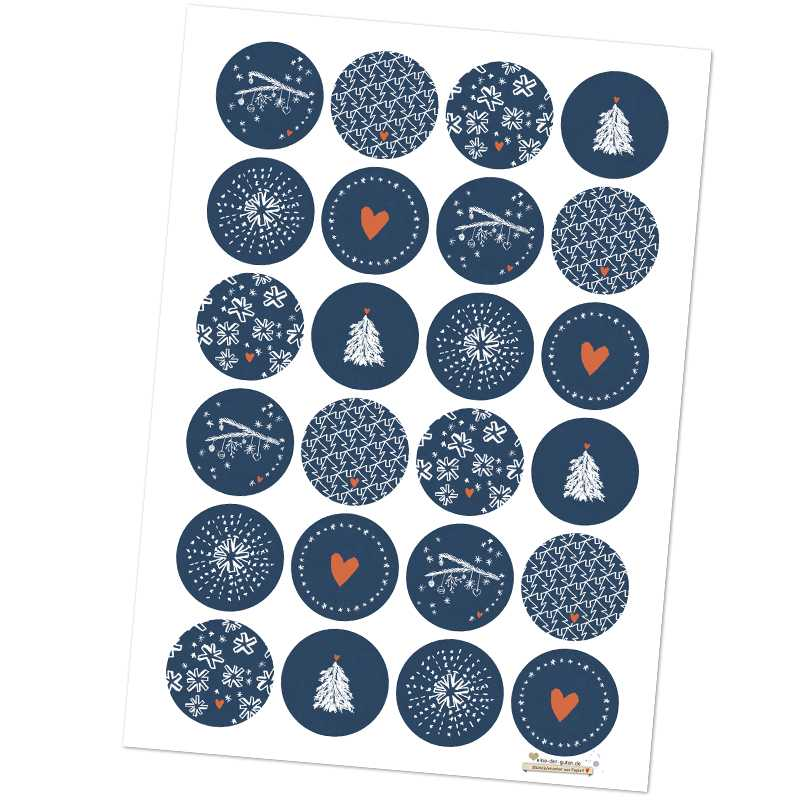 24 gemischte weihnachstetiketten als weihnachstdeko blau - Weihnachtsdeko blau ...