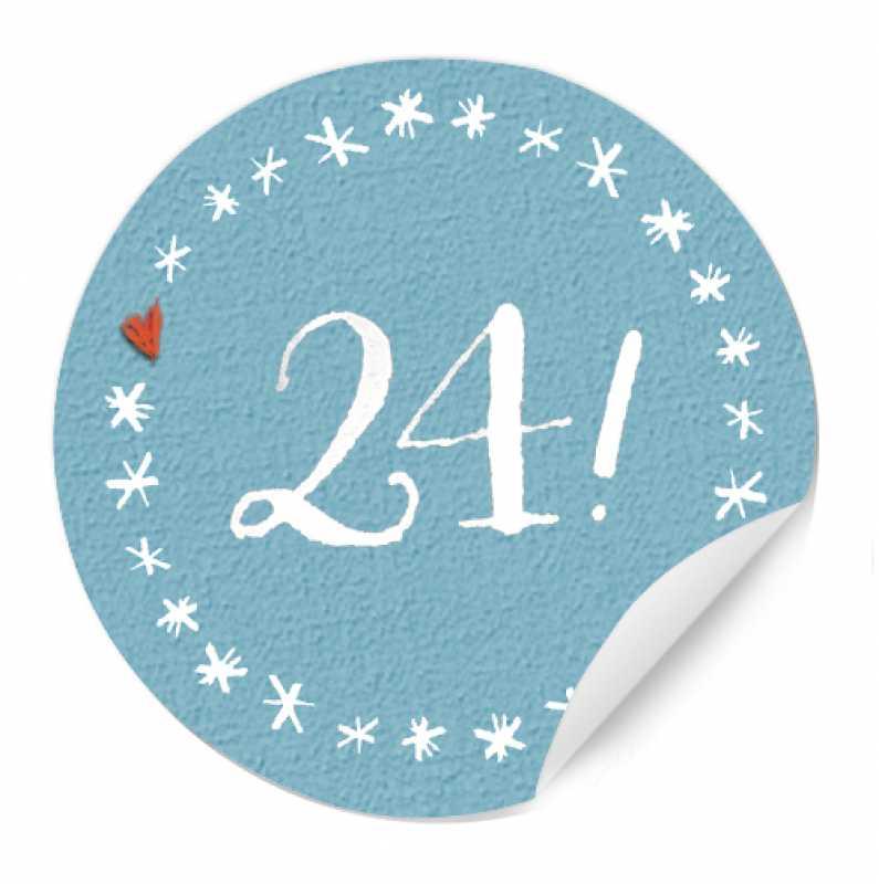 24 klassische adventskalender zahlen sticker mit sternenkreis 4cm rund blau eine der guten. Black Bedroom Furniture Sets. Home Design Ideas