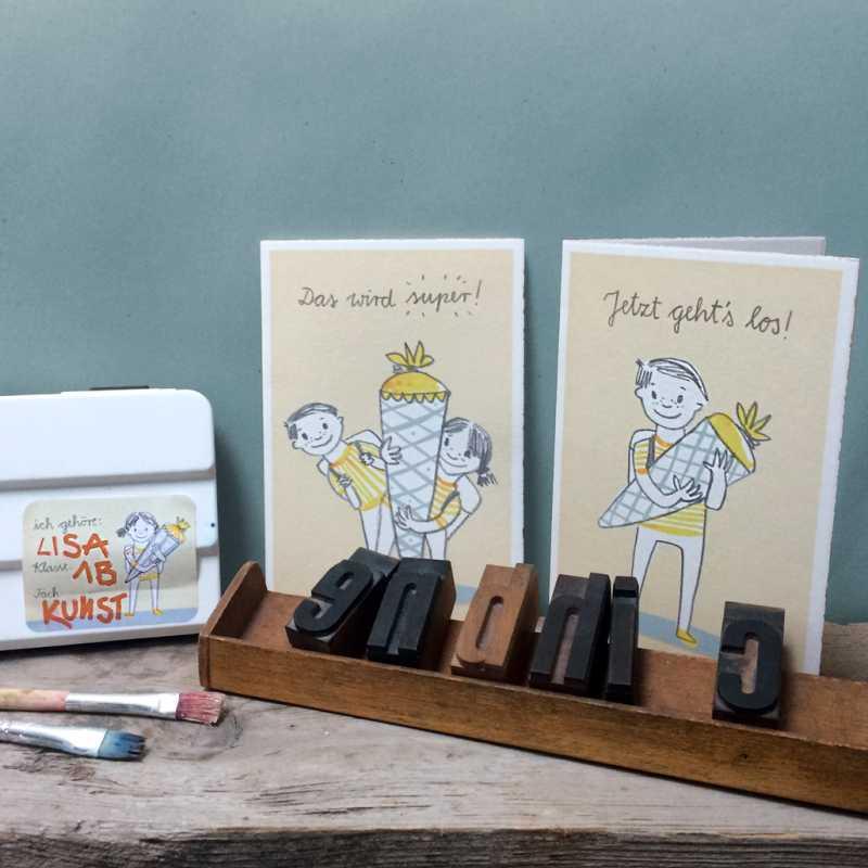 gl ckwunschkarte zur einschulung f r m dchen retro look. Black Bedroom Furniture Sets. Home Design Ideas
