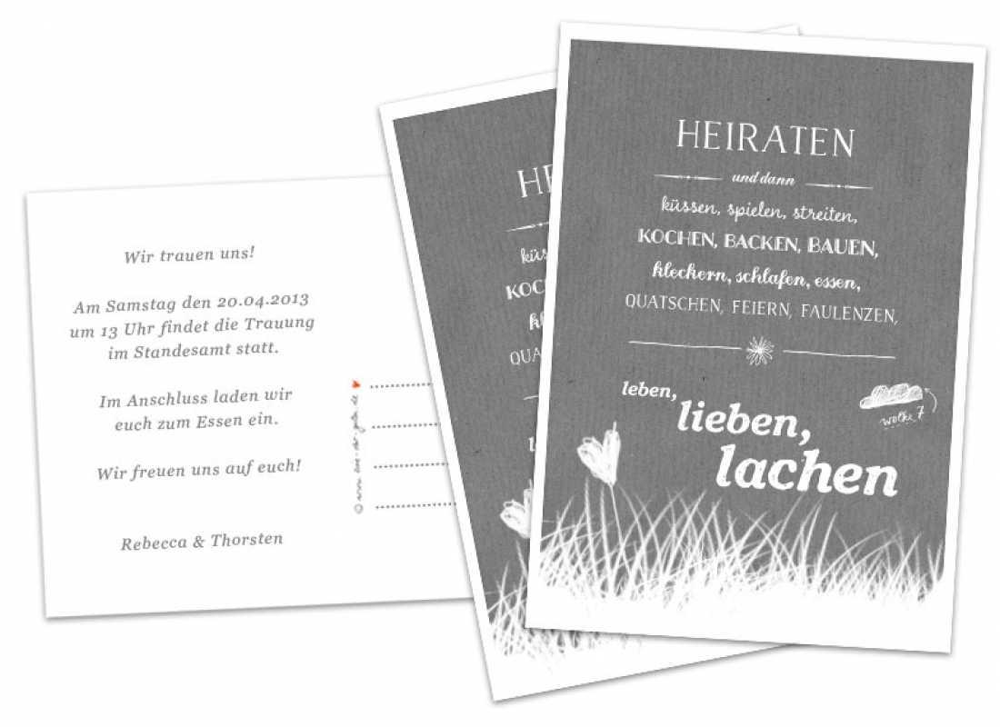 Hochzeitseinladungskarten Heiraten Und Dann...   Grau   Inklusive  Individueller Text Auf Rückseite,